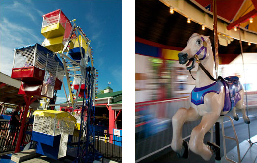 Big family fun and scary carousel horsie at Olcott Harbor