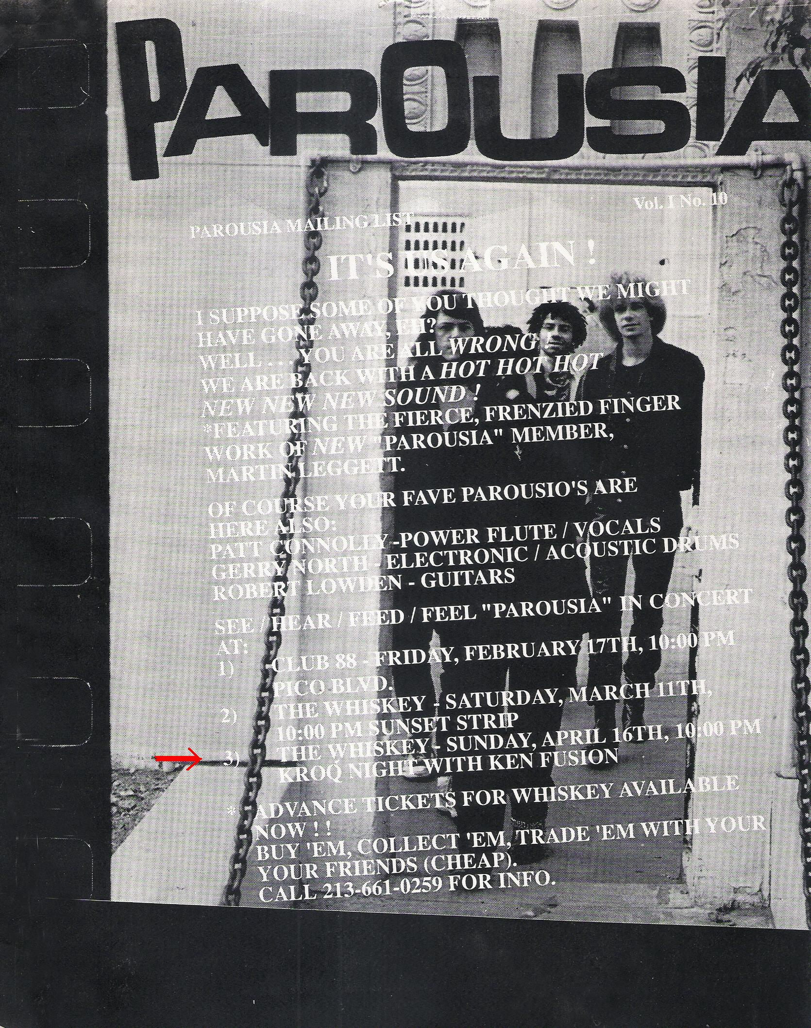 KROQ presents Parousia at the Whisky a go-go. Sunday, April 16th 1989