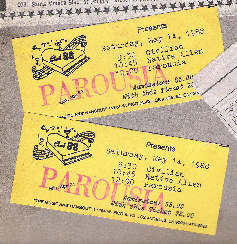 Parousia Club 88 Ticket – May 14, 1988