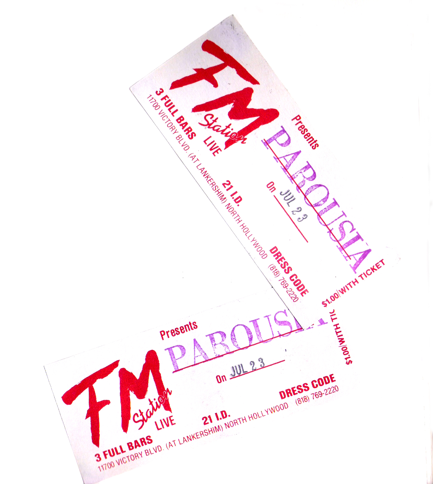 Pair of F.M. Station tickets for Parousia July 23, 1989