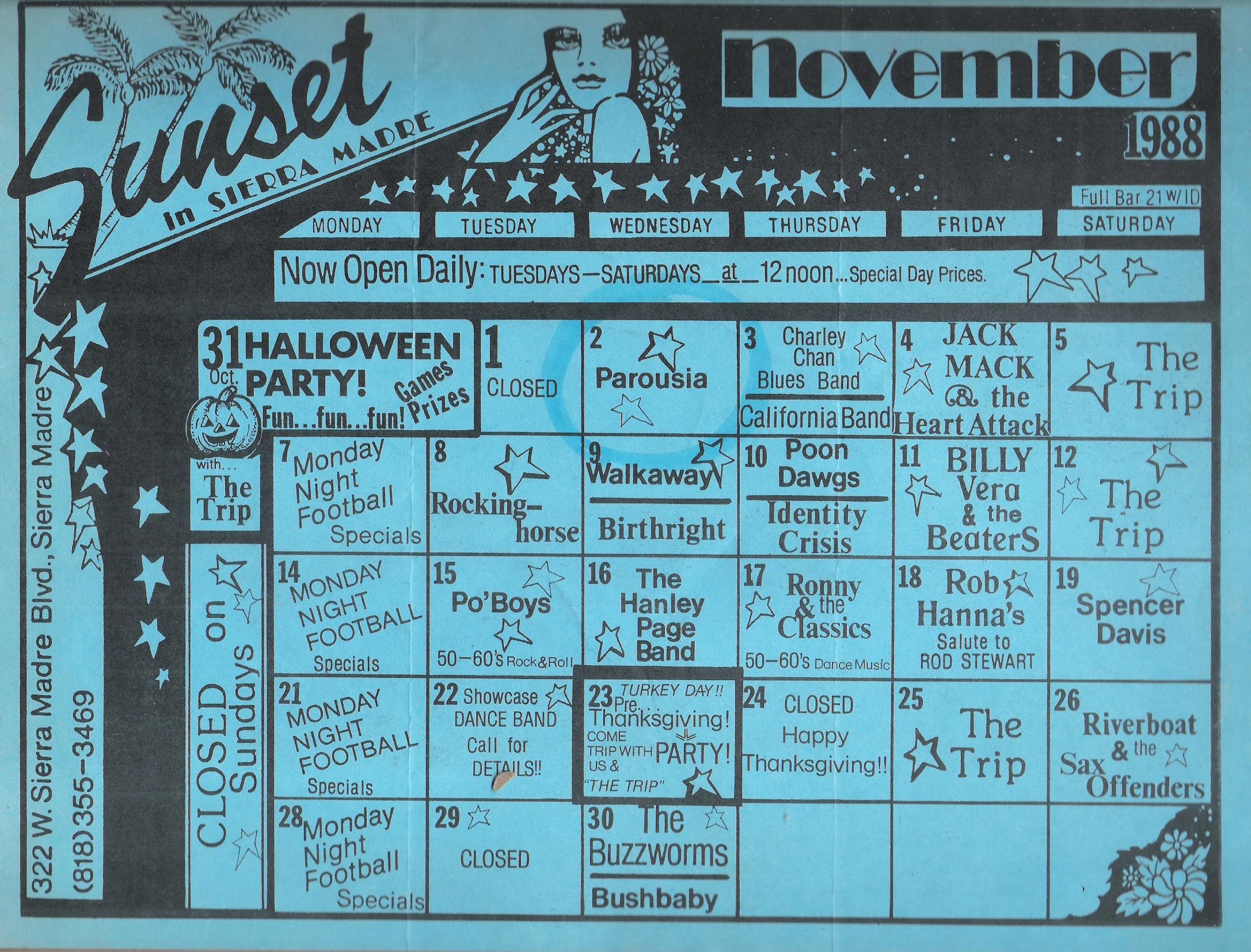 The Sunset Club Events Calendar, November 1988