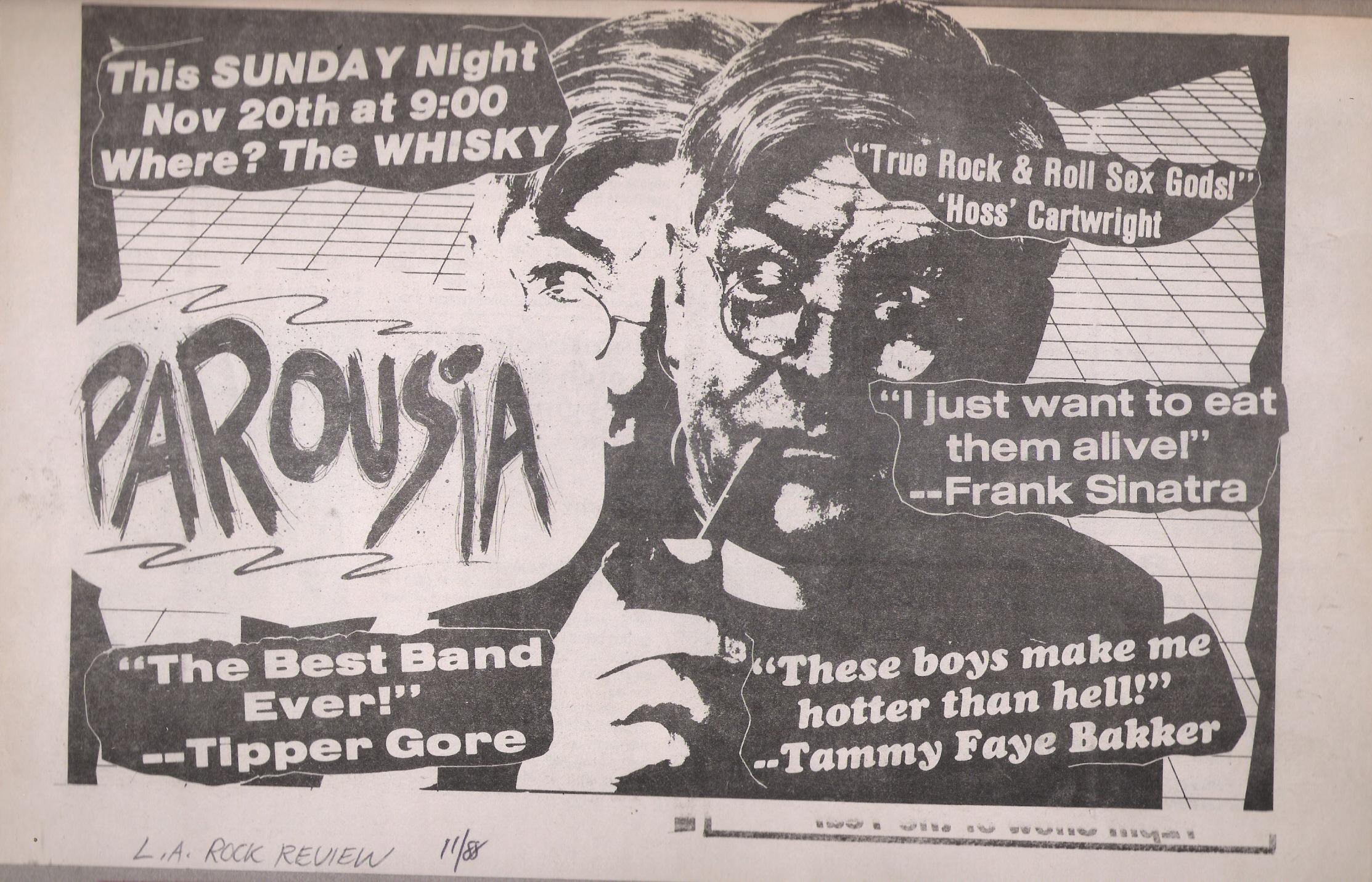 Parousia at the Whisky a-go-go, Sunday November 20, 1988; L.A. Rock Review, Nov. 1988