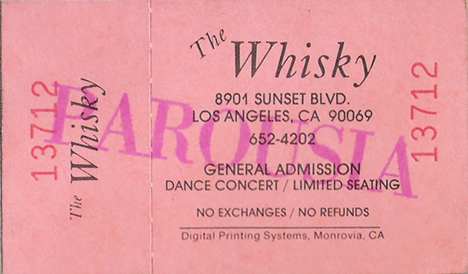 Ticket for Parousia at the Whisky, November 20, 1988
