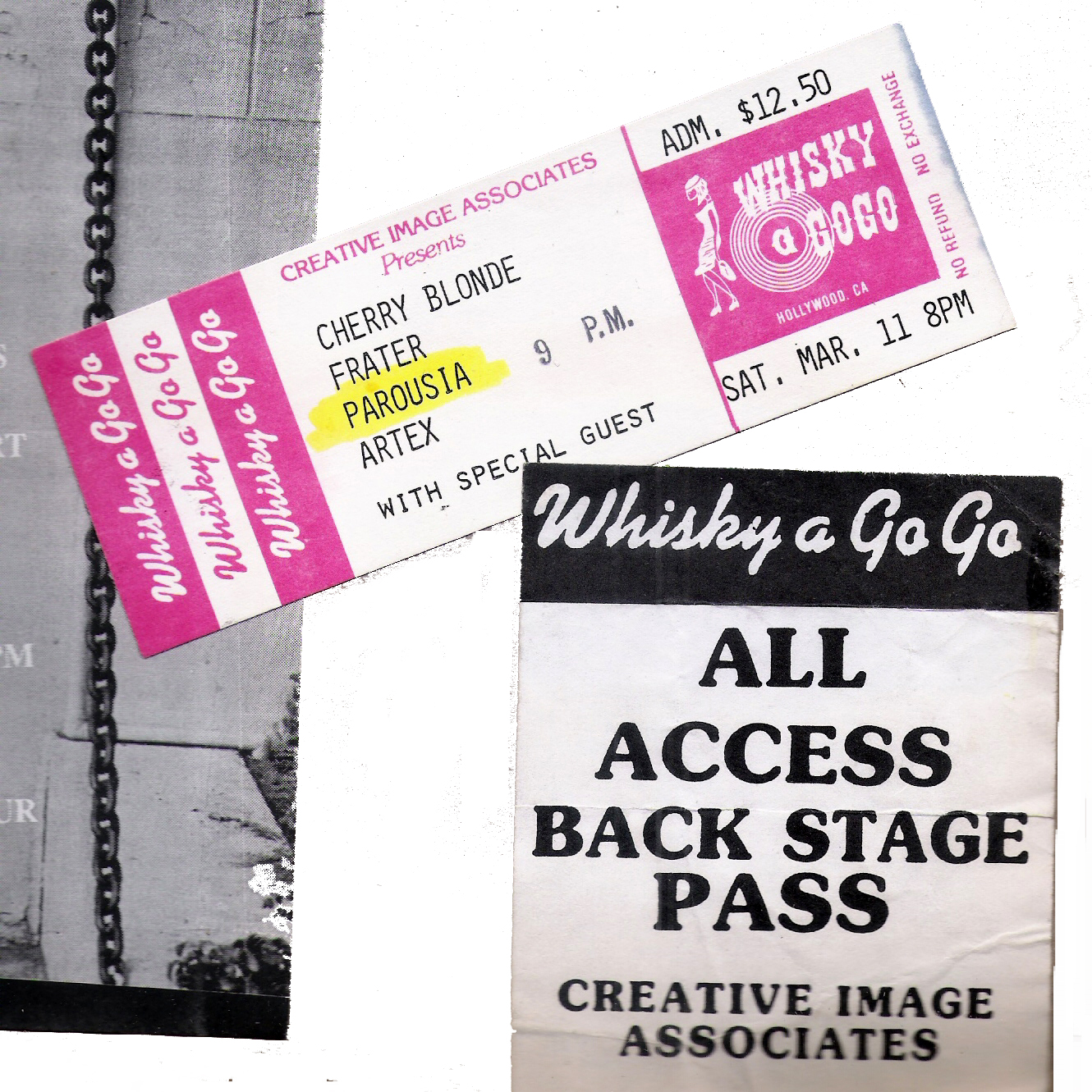 All Access Back Stage Pass at the Whisky, Saturday March 11, 1989