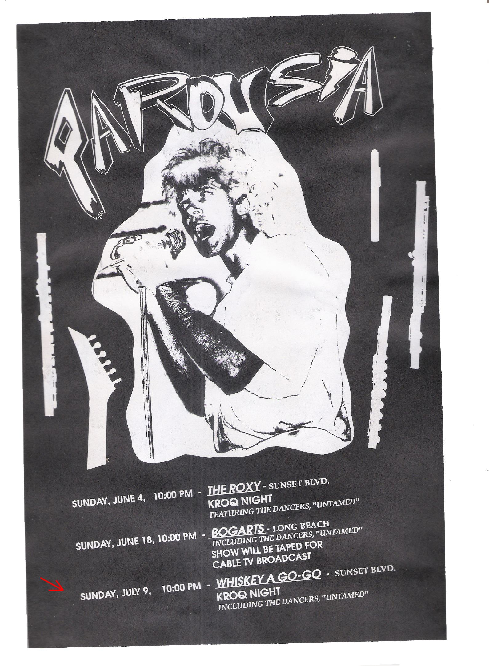 Parousia at the Whisky a-Go-Go Sunday July 9th, 1989