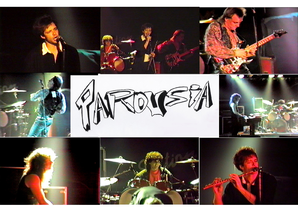 The band Parousia 1990: P. Connolly, D. Taft, G. Lee, M. Leggett and G. Cannizzaro